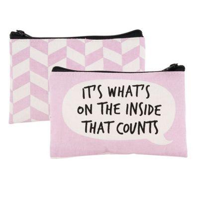 Pink Slogan Coin Purse