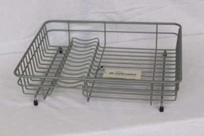 Delfinware Plastic Coated Medium Flat Rectangular Dish Sink Drainer in Grey
