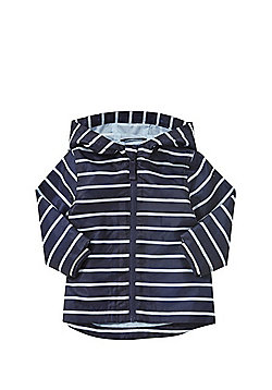 F&F Shower Resistant Striped Hooded Mac - Navy