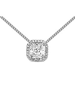 Jewelco London Rhodium Plated Sterling Silver CZ Cluster Pendant