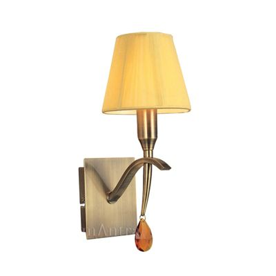 Siena Switched Wall Lamp 1 Light Antique Brass With Amber Silk String Shade And Amber Crystal
