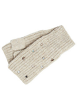 F&F Jewelled Handwarmer Mittens - Neutral