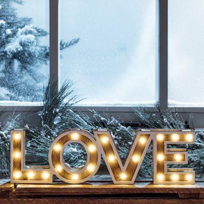 Battery LED Wooden Love Sign Light