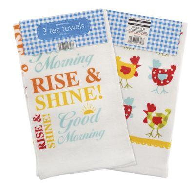 Country Club Velour Tea Towels, Wakey Wakey, Set of 3