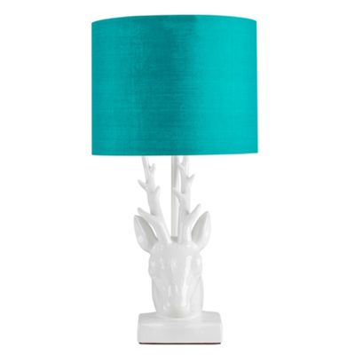 48cm Ceramic Stags Head Table Lamp - White & Teal
