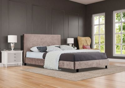 Comfy Living 4ft6 Double Crushed Velvet Bed Frame in Truffle with Damask Memory Mattress