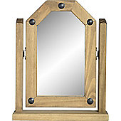 Corona Mexican Single Swivel Dressing Mirror Distressed Waxed Pine