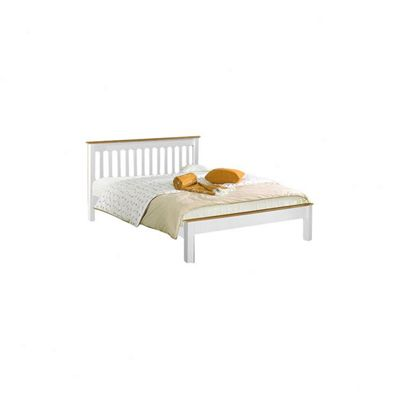 Amani Grasmere Double White Bed Frame - No Drawers