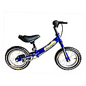 "Tiger Wheelie Kids Toddler Balance Bike Blue 12"" Wheel"