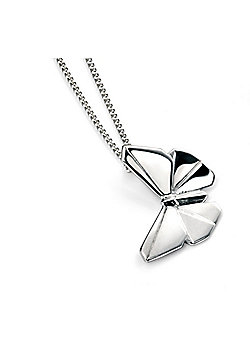 Sterling Silver Matt and Polished Butterfly Pendant
