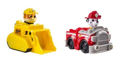 PAW PATROL BUNDLE - Paw Patrol Racers RUBBLE AND Paw Patrol Racers MARSHALL - 2 ITEMS SUPPLIED