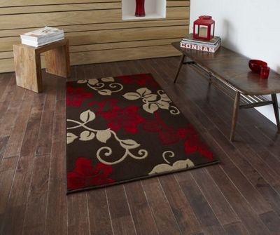 Oriental Carpets & Rugs Modena Brown/Red Budget Rug - Runner 65 cm x 220 cm (2 ft 2 in x 7 ft 3 in)