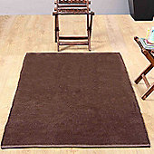 Homescapes Chenille Plain Cotton Extra Large Rug Brown, 110 x 170 cm