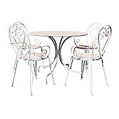 Charles Bentley Shabby Chic Steel Heart 5 Piece Bistro Set In Cream