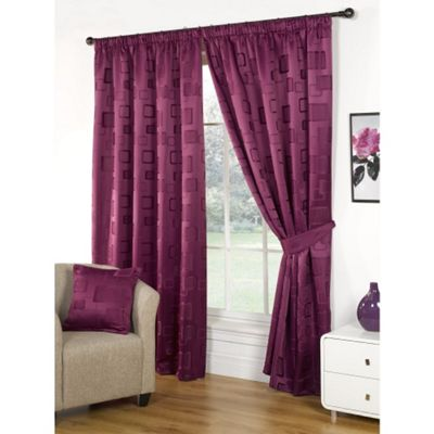 Hamilton McBride Milano Pencil Pleat Lined Mulberry Curtains & Tie backs - 90x90 Inches (229x229cm)