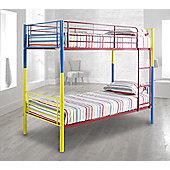 Happy Beds Rainbow Multi-Metal Kids Bunk Bed Frame 3ft Single