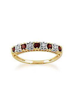 Gemondo 9ct Yellow Gold 0.30ct Garnet & 2pt Diamond Half Eternity Ring
