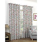Tiga Eyelet Curtains 168 x 183cm - Grey & Red