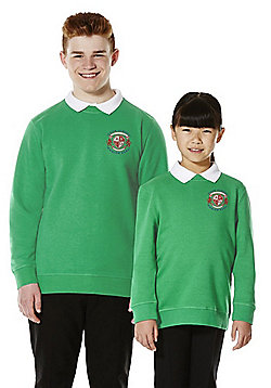 Unisex Embroidered Cotton Blend School Sweatshirt with As New Technology - Emerald green