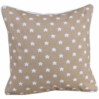 Homescapes Cotton Beige Stars Cushion Cover, 30 x 30 cm