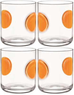 Bormioli Rocco Giove Water Tumbler Glasses - Set Of 4 - Orange - 310ml