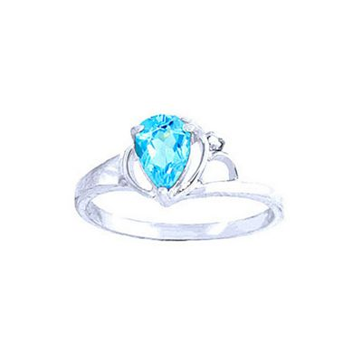 QP Jewellers Diamond & Blue Topaz Glow Ring in 14K White Gold - Size R 1/2