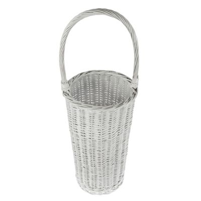 Homescapes White Gloss Willow Wicker Umbrella Stand with Handle