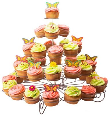 Andrew James 5 Tier Spiral Wire Cupcake Holder for 41 Cakes - Silver