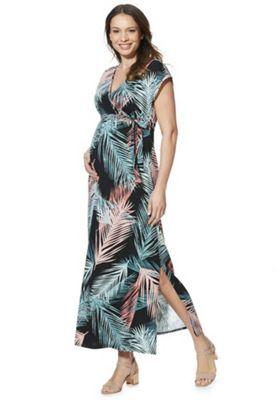 Mamalicious Palm Leaf Print Maternity Maxi Dress Multi L