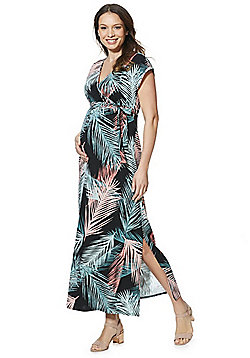 Mamalicious Palm Leaf Print Maternity Maxi Dress - Multi