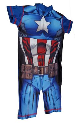 Boys Marvel Character Captain America UV50+ Protection Beach Swimming Costume Suit-1-2 Years