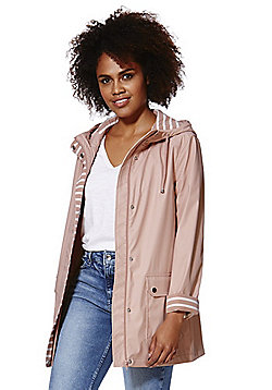 F&F Striped Trim Shower Resistant Hooded Mac - Blush pink