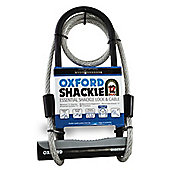 Oxford Shackle Bike & Cycle 12DUO U Lock & Lockmate Cable Hard Steel - Black