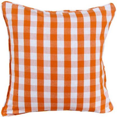 Homescapes Cotton Block Check Orange Cushion Cover, 45 x 45 cm
