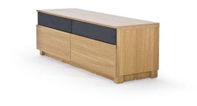 RGE Base 2 Drawers Multi-Media TV Storage and Display Unit - Foil Oak