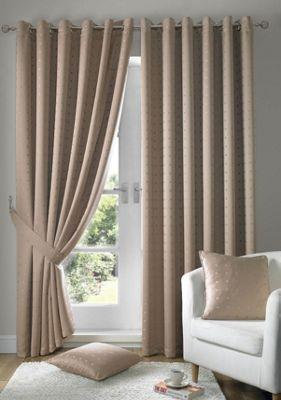 Alan Symonds Madison Latte Eyelet Curtains - 66x90 Inches (168x229cm)