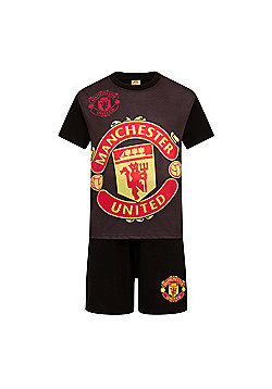 Manchester United FC Boys Short Pyjamas - Black