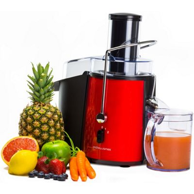 Andrew James Whole Fruit & Vegetable Juicer Machine with Jug & Cleaning Brush - 850 Watts - Red