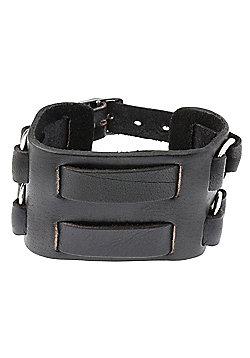 Men's Black Leather 55mm Double Strap Cuff Bracelet by Urban Male