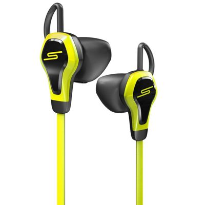 SMS Biosport Yellow Earphones with Heart Rate Monitor Remote and Mic