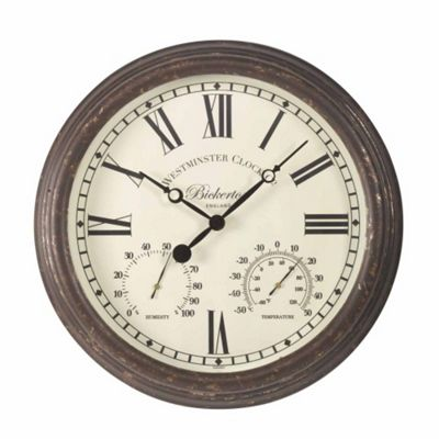 Outside In Bickerton Wall Clock and Thermometer 15in