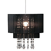 Pendant Shade Black Voile Beaded Chic Living Area Light Decor