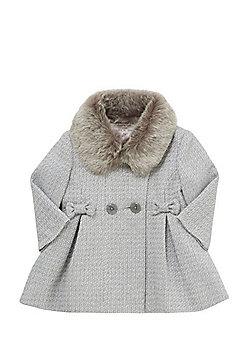 F&F Faux Fur Collar Sparkle Princess Coat - Light grey