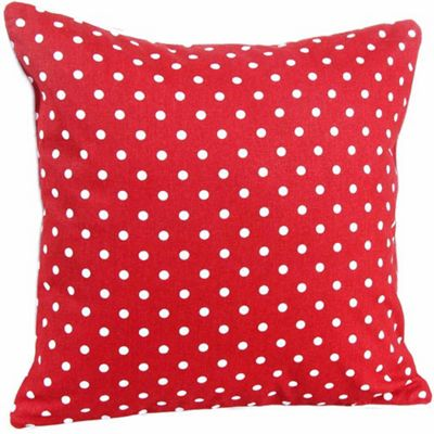Homescapes Cotton Red Hearts and Polka Dots Cushion Cover, 45 x 45 cm