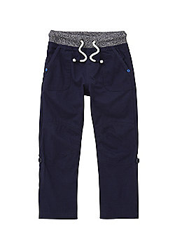 F&F Rib Waist Roll-Up Cargo Trousers - Navy