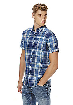 F&F Indigo Yarn Checked Short Sleeve Shirt - Blue