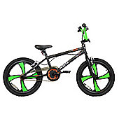 "XN-5 20"" Freestyle 4 Spoke Mag Wheel BMX Bike Black/Green Adult & Kids"