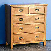 Surrey Oak 2+3 Chest of Drawers - Rustic Oak