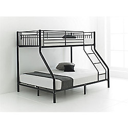 Happy Beds Cherry 3ft 4ft6 Kids Black Metal Bunk Bed Triple Sleeper