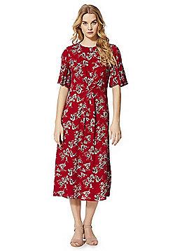 Izabel London Floral Print Knot Front Midi Dress - Red
